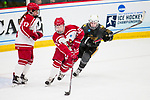 ADRIAN, MI - MARCH 18: Hannah Kiraly (21) of Plattsburgh State University gains possession during the Division III Women's Ice Hockey Championship held at Arrington Ice Arena on March 19, 2017 in Adrian, Michigan. Plattsburgh State defeated Adrian 4-3 in overtime to repeat as national champions for the fourth consecutive year. by Tony Ding/NCAA Photos via Getty Images)