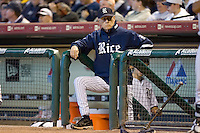 Rice Owls head coach Wayne Graham #37 watches the action versus the Baylor Bears from the top step of the dugout at the 2009 Houston College Classic at Minute Maid Park March 1, 2009 in Houston, TX.  The Owls defeated the Bears 8-3. (Photo by Brian Westerholt / Four Seam Images)