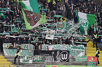 Wolfsburger Fans - 23.11.2019: Eintracht Frankfurt vs. VfL Wolfsburg, Commerzbank Arena, 12. Spieltag<br /> DISCLAIMER: DFL regulations prohibit any use of photographs as image sequences and/or quasi-video.
