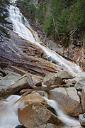 Crawford Notch State Park - Ripley Falls on Avalanche Brook in Hart's Location, New Hampshire USA during the autumn months. The Arethusa-Ripley Falls Trail travels pass this scenic waterfall. Named for H.W. Ripley, this waterfall was discovered in the 1850s (maybe earlier).