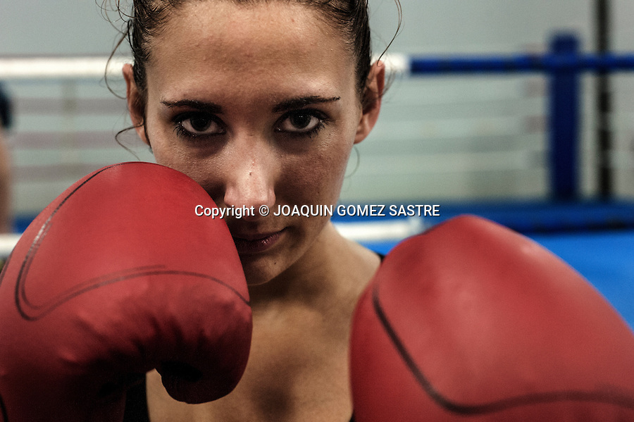 Portrait of amateur boxer Pilar de la Horadada in La Familia boxing club in Alicante.