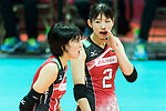 Wing spiker Sarina Koga (R) of Japan talks during the FIVB Volleyball World Grand Prix - Hong Kong 2017 match between Japan and Serbia on 22 July 2017, in Hong Kong, China. Photo by Yu Chun Christopher Wong / Power Sport Images