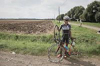 Arjen Livyns (BEL/Verandas Willems) waiting by the side of the road with a puncture<br /> <br /> 91st Schaal Sels 2016