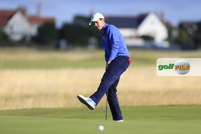 Cole Hammer (USA) on the 3rd green during the final day foursomes matches at the Walker Cup, Royal Liverpool Golf Club, Hoylake, Cheshire, England. 08/09/2019.<br /> Picture Fran Caffrey / Golffile.ie<br /> <br /> All photo usage must carry mandatory copyright credit (© Golffile | Fran Caffrey)