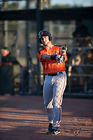 AZL Giants Orange designated hitter Joey Bart (9) on deck during an Arizona League game against the AZL Athletics at Lew Wolff Training Complex on June 25, 2018 in Mesa, Arizona. AZL Giants Orange defeated the AZL Athletics 7-5. (Zachary Lucy/Four Seam Images)
