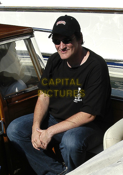 QUENTIN TARANTINO.61st Venice FIlm Festival,.September 7th 2004..half length in boat cap sunglasses black t shirt.Ref: KRA.www.capitalpictures.com.sales@capitalpictures.com.©Capital Pictures.
