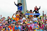 Clowns from Central America, participants of the Clown Congress, pose for a group picture on Plaza Salvador del Mundo in San Salvador, El Salvador, 18 May 2011. The clown performance is considered a regular job in most of Latin American countries. Clowns may work individually or in groups, often performing advertisement like acts in large open-to-street shops or they take part in private shows, like children birthdays, family events etc. There are many clown conventions all over Latin America where clowns gather and exchange their experiences offering workshops of the comic acting or the art of make-up. For some of them, being clown is a serious lifetime profession.