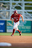 Altoona Curve left fielder Logan Hill (53) runs the bases during a game against the Richmond Flying Squirrels on May 15, 2018 at Peoples Natural Gas Field in Altoona, Pennsylvania.  Altoona defeated Richmond 5-1.  (Mike Janes/Four Seam Images)