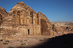 The impressive monument of  Al-Deir (the Monastery) in the ancient Jordanian city of Petra. Petra is the most visited tourist attraction in Jordan, a symbol of the country for its historical and archaeological importance. It has been a UNESCO World Heritage Site since 1985.
