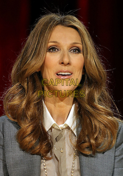 CELINE DION.Celine Dion's Momentous Return To The Colosseum Press Conference At Caesars Palace Resort Casino, Las Vegas, Nevada, USA..March 15th, 2011.headshot portrait grey gray jacket gold  necklace beige shirt blouse .CAP/ADM/MJT.© MJT/AdMedia/Capital Pictures.