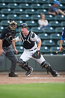 Winston-Salem Dash catcher Zack Collins (8) on defense against the Myrtle Beach Pelicans at BB&T Ballpark on May 11, 2017 in Winston-Salem, North Carolina.  The Pelicans defeated the Dash 9-7.  (Brian Westerholt/Four Seam Images)