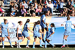 02 December 2012: UNC's Satara Murray (44) celebrates her goal with Amber Brooks (22), Maria Lubrano (91), Brooke Elby (93), Ranee Premji (CAN), and Hanna Gardner (71). The University of North Carolina Tar Heels played the Penn State University Nittany Lions at Torero Stadium in San Diego, California in the 2012 NCAA Division I Women's Soccer College Cup championship game. UNC won the game 4-1.