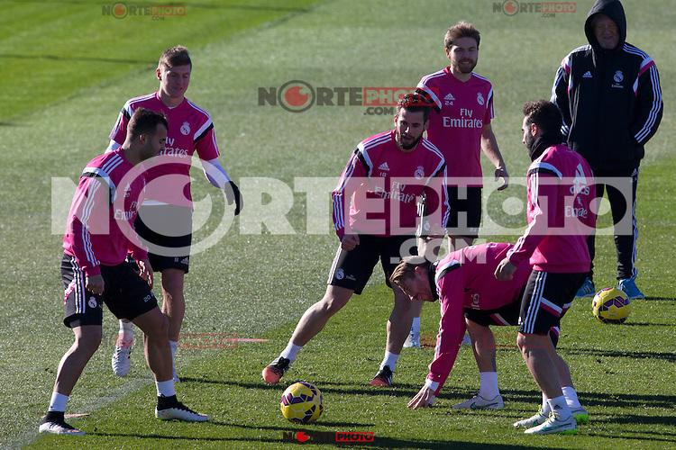 Toni Kroos, Jesse, Nacho, Illarramendi, Sergio Ramos and Carvajal  during a sesion training at Real Madrid City in Madrid. January 23, 2015. (ALTERPHOTOS/Caro Marin) /NortePhoto<br /> NortePhoto.com