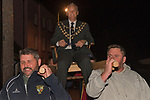 The annual election of the new Portreeve of Laugharne, Carmarthen, Wales on the first Monday following Michaelmas. 2019. Takes place in the Big Court of the town hall. In 2019 David Lynn Jones became the Portreeve and was as is customary carried three times around the town hall. He is wearing his chain of office, made up of solid gold cockleshells.