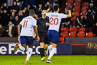 Liverpool's forward Domonic Solanke (20) for England U21's  runs away arms aloft during the International Euro U21 Qualification match between England U21 and Ukraine U21 at Bramall Lane, Sheffield, England on 27 March 2018. Photo by Stephen Buckley / PRiME Media Images.