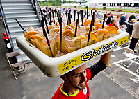 BALTIMORE, MD - MAY 20: A vendor carries a tray of black-eyed Susans through the apron of the grandstands on Preakness Stakes Day at Pimlico Race Course on May 20, 2017 in Baltimore, Maryland.(Photo by Scott Serio/Eclipse Sportswire/Getty Images)