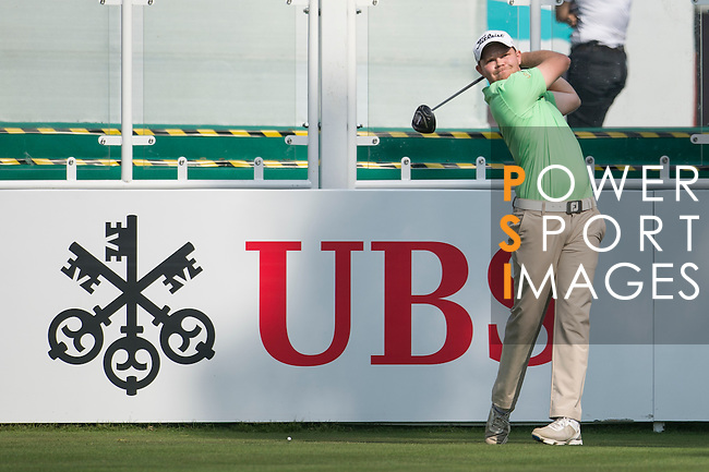 Nathan Kimsey of England tees off the first hole during the 58th UBS Hong Kong Golf Open as part of the European Tour on 08 December 2016, at the Hong Kong Golf Club, Fanling, Hong Kong, China. Photo by Marcio Rodrigo Machado / Power Sport Images