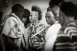"""In the town of Djibo in northern Burkina Faso, young """"doohoobe"""" (people who sing """"doohaali"""") dance in traditional fashion. The men and women each form a line facing each other, rhythmically shuffling towards and then away from each other. The women clap their hands and sing as the men """"dooho,"""" or sing a distinct, deep rhythmic chant. The men hold """"cabbi,"""" sticks which are used when herding cattle. """"Doohaali"""" is a distinct form of music practiced only by the Fulani in Djelgooji, a particular area of Burkina Faso. The young men in this image are the winners of a regional music and arts competition, going on to perform at Burkina Faso's 2010 """"Semaine Nationale de la Culture"""" (SNC) in Bobo-Dioulasso."""