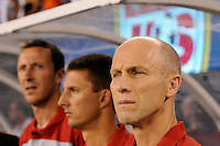 United States head coach Bob Bradley. The men's national team of Brazil (BRA) defeated the United States (USA) 2-0 during an international friendly at the New Meadowlands Stadium in East Rutherford, NJ, on August 10, 2010.