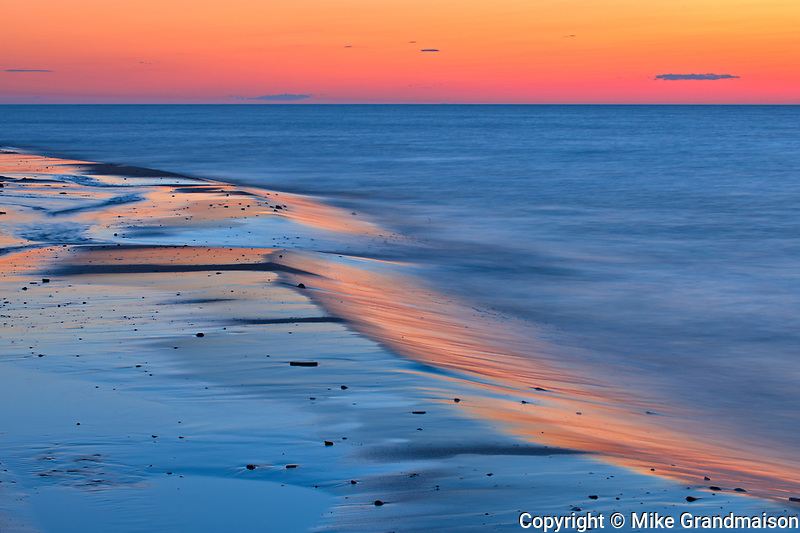 sandy shoreline along the Gulf of St. Lawrence at dusk<br />Cable Head<br />Prince Edward Island<br />Canada