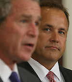 Washington, D.C. - June 19, 2007 -- United States President George W. Bush, left, announces former US Representative Jim Nussle (Republican of Iowa), right, as director of the Office of Management and Budget (OMB) to succeed Rob Portman, Tuesday, June 19, 2007 at The White House in Washington DC. <br /> Credit: Chris Kleponis - Pool via CNP