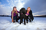 Two Blonde Woman Posing and Having Fun on Snowy Landscape