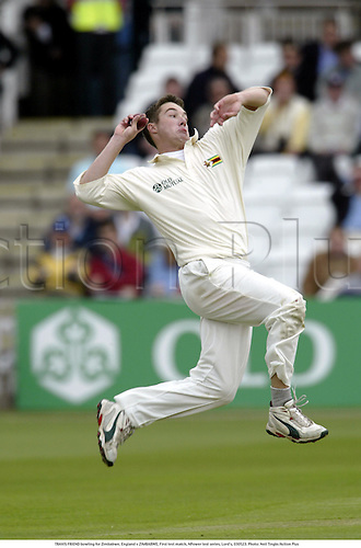 TRAVIS FRIEND bowling for Zimbabwe, England v ZIMBABWE, First test match, NPower test series, Lord's, 030523. Photo: Neil Tingle/Action Plus...2003.Cricket.bowler bowlers.