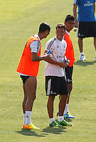 Cristiano Ronaldo jokes with his colleagues during Real Madrid´s first training session of 2013-14 seson. July 15, 2013. (ALTERPHOTOS/Victor Blanco) ©NortePhoto