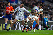 10th February 2019, Twickenham Stadium, London, England; Guinness Six Nations Rugby, England versus France; Courtney Lawes of England is tackled by Morgan Parra of France