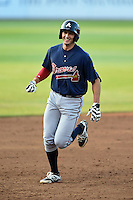 Brandt Stallings (30) of King's Ridge Christian School in Buford, Georgia runs the bases after hitting a home run playing for the Atlanta Braves scout team during the East Coast Pro Showcase on July 31, 2014 at NBT Bank Stadium in Syracuse, New York.  (Mike Janes/Four Seam Images)