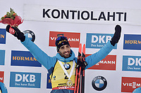 March 14th 2020, Kontiolahti, Finland;  Martin Fourcade of France celebrates victory and end of career after the mens 12.5 km Pursuit competition at the IBU Biathlon World Cup in Kontiolahti, Finland, on March 14, 2020. Fourcade ends his career now at the end of the season in Kontiolahti where he took his first World Cup victory exactly 10 years ago on March 14, 2010.