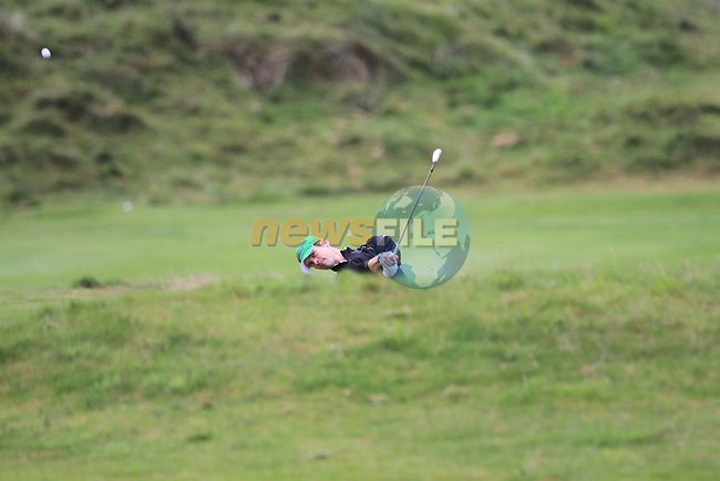 Day one of the Irish PGA championship at Seapoint Golf Club,.David Mooney Carr Golf Service on the 18th..Picture Fran Caffrey/www.golffile.ie.