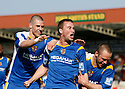 Joel Byrom of Stevenage Borough (c) celebrates scoring the second goal during the Blue Square Premier match between Kidderminster Harriers and Stevenage Borough at the Aggborough Stadium, Kidderminster on Saturday 17th April, 2010..© Kevin Coleman 2010