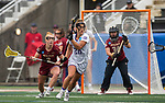 STONY BROOK, NY - MAY 27: Elena Romesburg #28 of the James Madison Dukes is defended by Elizabeth Miller #3 of the Boston College Eagles during the Division I Women's Lacrosse Championship held at Kenneth P. LaValle Stadium on May 27, 2018 in Stony Brook, New York. (Photo by Ben Solomon/NCAA Photos via Getty Images)