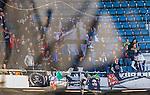 Solna 2015-04-26 Fotboll Allsvenskan AIK - &Ouml;rebro SK :  <br /> &Ouml;rebros supportrar med en flagga under matchen mellan AIK och &Ouml;rebro SK <br /> (Foto: Kenta J&ouml;nsson) Nyckelord:  AIK Gnaget Friends Arena Allsvenskan &Ouml;rebro &Ouml;SK supporter fans publik supporters