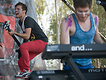 Bassist Kevin Ray and singer Nicholas Petricca of Cincinnati based band Walk the Moon perform at the KROW Weenie Roast y Fiesta.