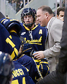 Karl Stollery (Merrimack - 7), Mark Dennehy (Merrimack - Head Coach0 - The visiting Merrimack College Warriors tied the Boston University Terriers 1-1 on Friday, November 12, 2010, at Agganis Arena in Boston, Massachusetts.