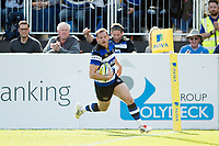 Chris Cook of Bath Rugby runs in a would-be try but the score is later ruled out. Aviva Premiership match, between Bath Rugby and Newcastle Falcons on September 23, 2017 at the Recreation Ground in Bath, England. Photo by: Patrick Khachfe / Onside Images