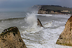 Surfing and surfers at Freshwater Bay, Isle of Wight