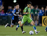 Fredy Montero of Sounders in action during the game against the Earthquakes at Buck Shaw Stadium in Santa Clara, California on July 31st, 2010.   Seattle Sounders defeated San Jose Earthquakes, 1-0.