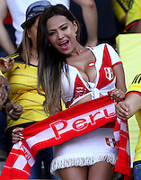 BARRANQUILLA  - COLOMBIA - 8-10-2015: Hinchas  del Peru  animan a su seleccion antes de su encuentro con su similar la  seleccion de Colombia,  primer partido  por por las eliminatorias al mundial de Rusia 2018 jugado en el estadio Metropolitano Roberto Melendez  / : Fans of Peru  cheer before their team against of selection ofColombia during first qualifying match for the 2018 World Cup Russia played at the Estadio Metropolitano Roberto Melendez. Photo: VizzorImage / Felipe Caicedo / Staff.