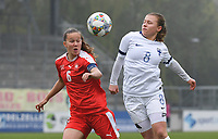 20190409  - Tubize , BELGIUM : Swiss Malin Gut (L) and Finland's Oona Siren (R) pictured during the soccer match between the women under 19 teams of Switzerland and Finland , on the third matchday in group 2 of the UEFA Women Under19 Elite rounds in Tubize , Belgium. Tuesday 9 th April 2019 . PHOTO DIRK VUYLSTEKE / Sportpix.be