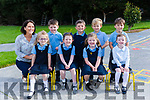 Enjoying their first day at school were Ms. Muireann O'Donovan's Junior Infants at Glenbeigh N.S on Frday. Pictured Aoibhi Clifford Teahan, Hannah O'Shea, Alex Sheehan, Harry Murphy, Olivia O'Shea, Max O'Sullivan, Blaithin O'Sullivan, Sean Griffin