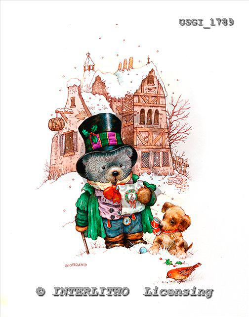 GIORDANO, CHRISTMAS ANIMALS, WEIHNACHTEN TIERE, NAVIDAD ANIMALES, Teddies, paintings+++++,USGI1789,#XA#
