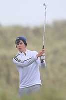 Conor Hickey (Dooks) on the 13th tee during Round 2 of the Ulster Boys Championship at Portrush Golf Club, Portrush, Co. Antrim on the Valley course on Wednesday 31st Oct 2018.<br /> Picture:  Thos Caffrey / www.golffile.ie<br /> <br /> All photo usage must carry mandatory copyright credit (&copy; Golffile | Thos Caffrey)