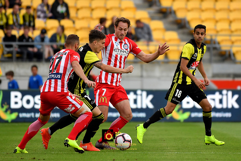 Wellington Phoenix' Louis Fenton and Melbourne City's Rostyn Griffiths in action during the A League - Wellington Phoenix v Melbourne City FC at Westpac Stadium, Wellington, New Zealand on Saturday 26 January 2019. <br /> Photo by Masanori Udagawa. <br /> www.photowellington.photoshelter.com