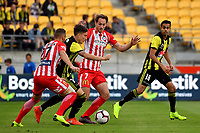 Wellington Phoenix&rsquo; Louis Fenton and Melbourne City&rsquo;s Rostyn Griffiths in action during the A League - Wellington Phoenix v Melbourne City FC at Westpac Stadium, Wellington, New Zealand on Saturday 26 January 2019. <br /> Photo by Masanori Udagawa. <br /> www.photowellington.photoshelter.com