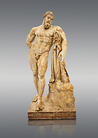 End of 2nd century beginning of 3rd century AD Roman marble sculpture of Hercules at rest copied from the second half of the 4th century BC Hellanistic Greek original,  inv 6001, Farnese Collection, Museum of Archaeology, Italy