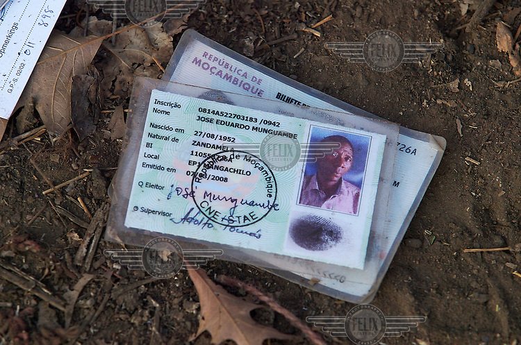 The Mozambique ID document of one of the victims of a xenophobic attack at Joe Slovo Hostel in Reiger Park, which left two dead. The men were Mozambican nationals who worked on a local mine. Thousands of migrants have been forced to flee due to brutal xenophobic attacks on foreign African migrants living in South Africa's impoverished townships.