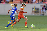 Houston, TX - Sunday Sept. 11, 2016: Louise Schillgard, Morgan Brian during a regular season National Women's Soccer League (NWSL) match between the Houston Dash and the Boston Breakers at BBVA Compass Stadium.